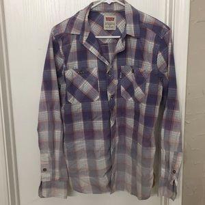 Ombré lightweight plaid shirt